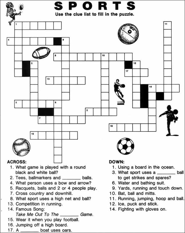 Print out activities for kids personalized school supplies for kids sports crossword puzzle ccuart Images