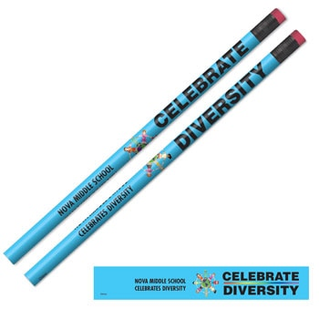 Full Color Custom Wooden Pencils - Celebrate Multicultural Diversity